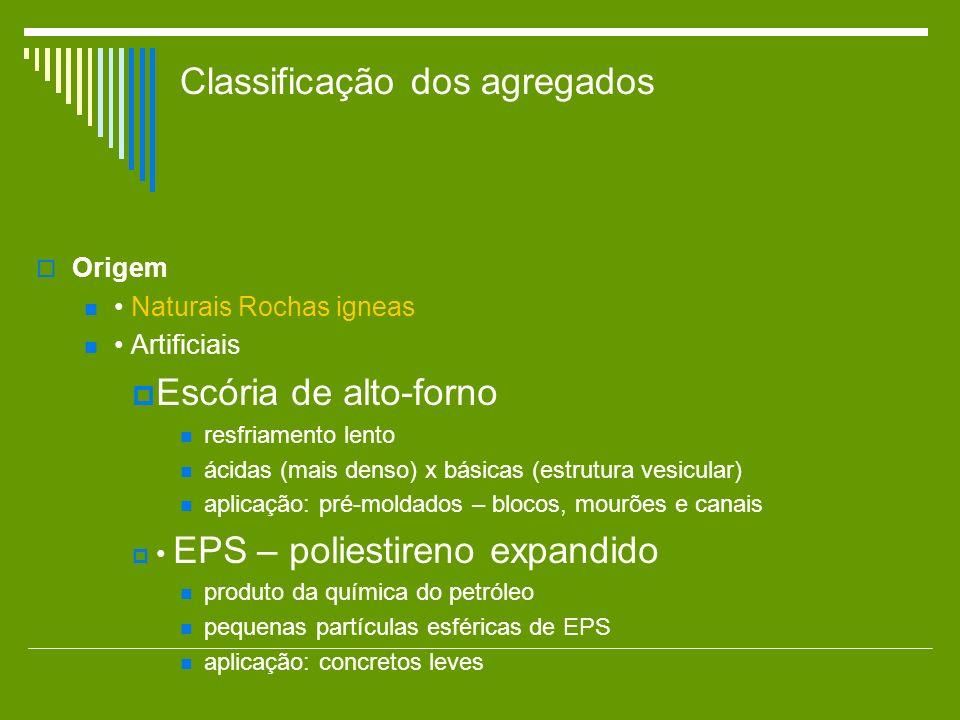 Classificação dos agregados Origem Naturais Rochas igneas Artificiais Escória de alto-forno resfriamento lento ácidas (mais denso) x básicas (estrutur