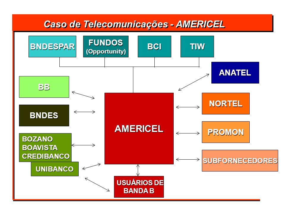 USUÁRIOS DE USUÁRIOS DE BANDA B AMERICEL BCITIWFUNDOS(Opportunity)BNDESPAR BB BNDES BOZANOBOAVISTACREDIBANCO UNIBANCO ANATEL NORTEL PROMON SUBFORNECED