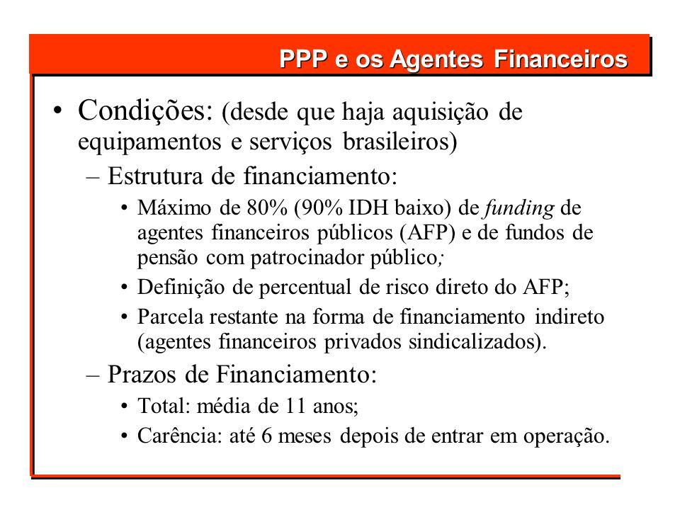 Condições: (desde que haja aquisição de equipamentos e serviços brasileiros) –Estrutura de financiamento: Máximo de 80% (90% IDH baixo) de funding de