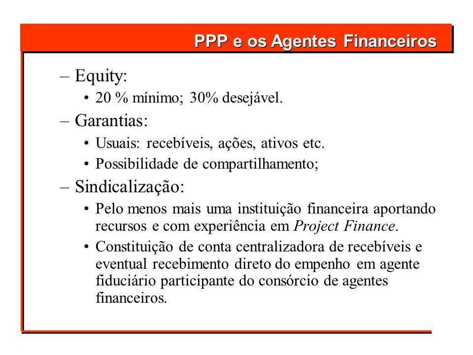 –Equity: 20 % mínimo; 30% desejável. –Garantias: Usuais: recebíveis, ações, ativos etc. Possibilidade de compartilhamento; –Sindicalização: Pelo menos
