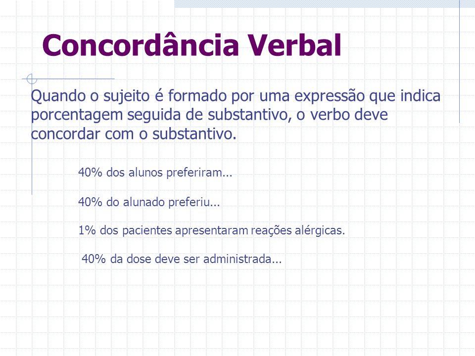Concordância Verbal Quando o sujeito é formado por uma expressão que indica porcentagem seguida de substantivo, o verbo deve concordar com o substantivo.