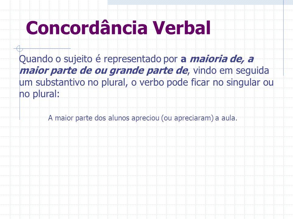 Concordância Verbal Quando o sujeito é representado por a maioria de, a maior parte de ou grande parte de, vindo em seguida um substantivo no plural,