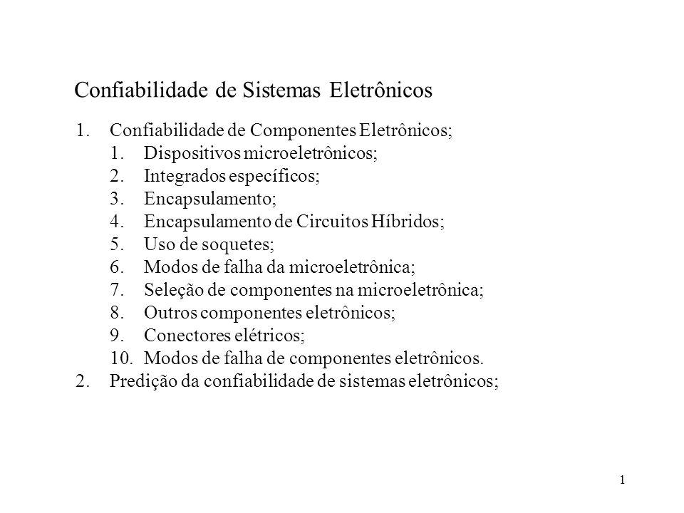 1 Confiabilidade de Sistemas Eletrônicos 1.Confiabilidade de Componentes Eletrônicos; 1.Dispositivos microeletrônicos; 2.Integrados específicos; 3.Enc