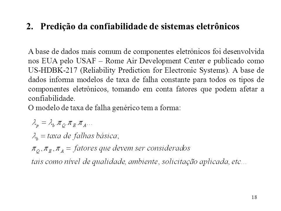 18 2.Predição da confiabilidade de sistemas eletrônicos A base de dados mais comum de componentes eletrônicos foi desenvolvida nos EUA pelo USAF – Rom