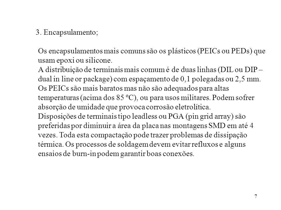 7 3. Encapsulamento; Os encapsulamentos mais comuns são os plásticos (PEICs ou PEDs) que usam epoxi ou silicone. A distribuição de terminais mais comu
