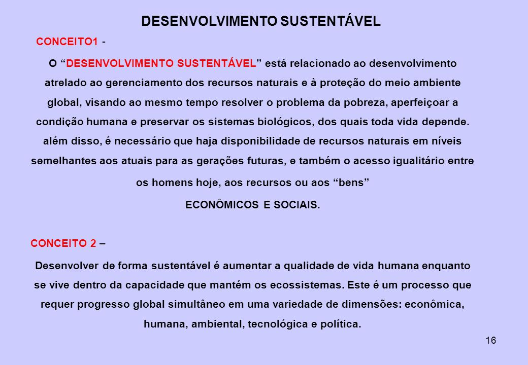 16 O DESENVOLVIMENTO SUSTENTÁVEL está relacionado ao desenvolvimento atrelado ao gerenciamento dos recursos naturais e à proteção do meio ambiente glo