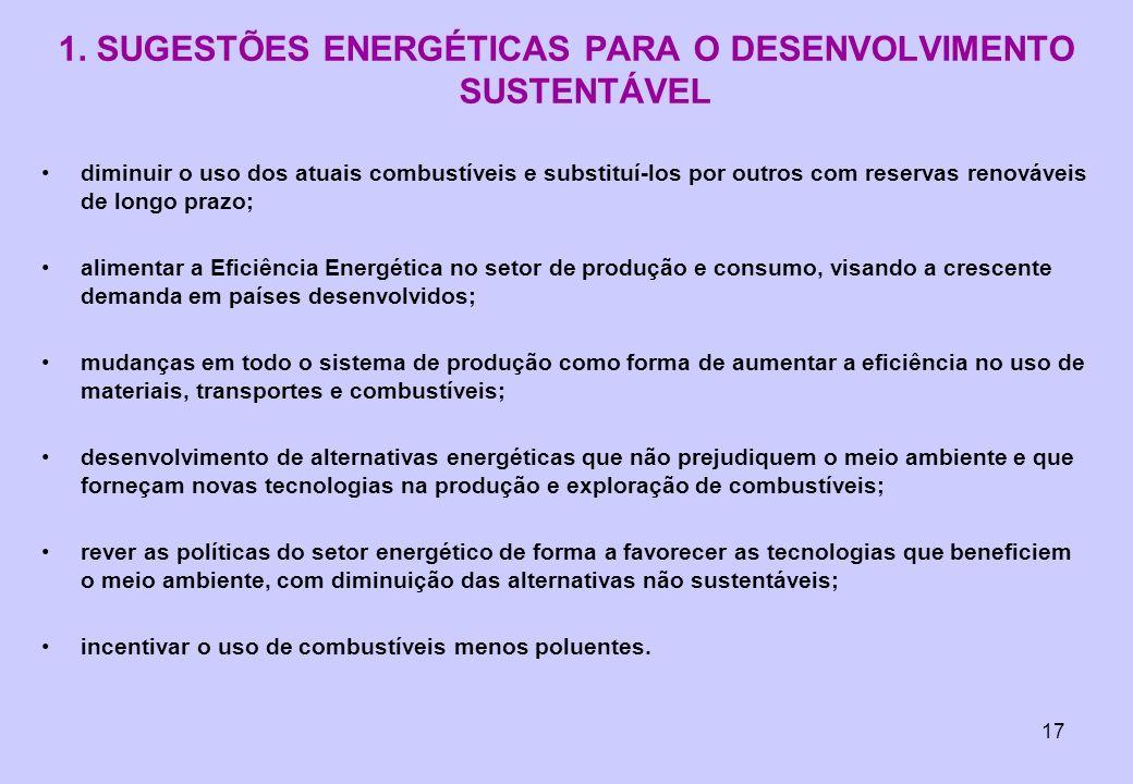 17 1. SUGESTÕES ENERGÉTICAS PARA O DESENVOLVIMENTO SUSTENTÁVEL diminuir o uso dos atuais combustíveis e substituí-los por outros com reservas renováve