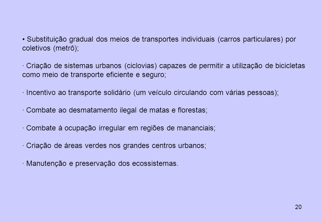 20 Substituição gradual dos meios de transportes individuais (carros particulares) por coletivos (metrô); · Criação de sistemas urbanos (ciclovias) ca