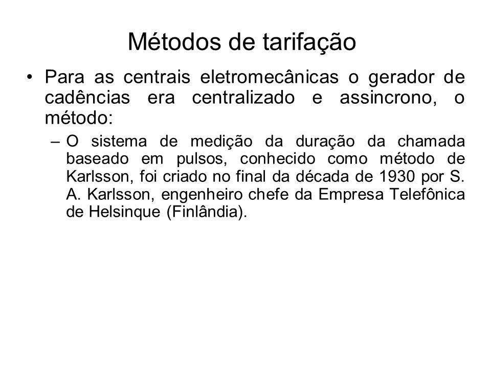Métodos de tarifação Para as centrais eletromecânicas o gerador de cadências era centralizado e assincrono, o método: –O sistema de medição da duração