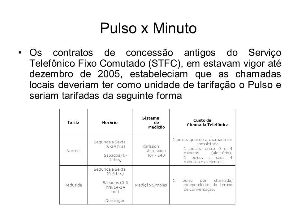 Pulso x Minuto Os contratos de concessão antigos do Serviço Telefônico Fixo Comutado (STFC), em estavam vigor até dezembro de 2005, estabeleciam que a