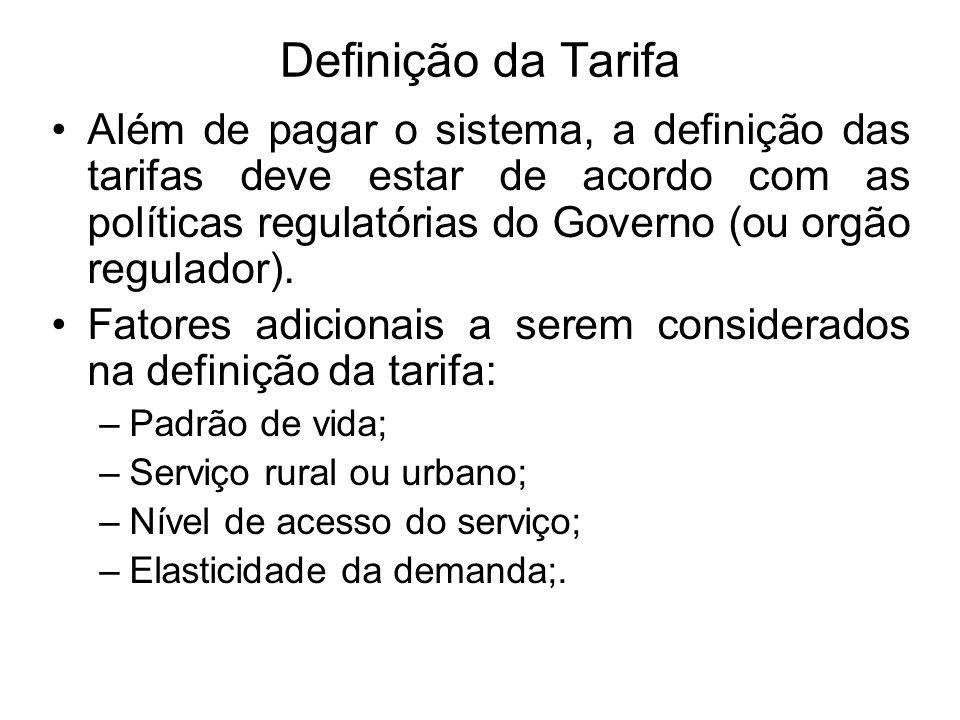 Definição da Tarifa Além de pagar o sistema, a definição das tarifas deve estar de acordo com as políticas regulatórias do Governo (ou orgão regulador