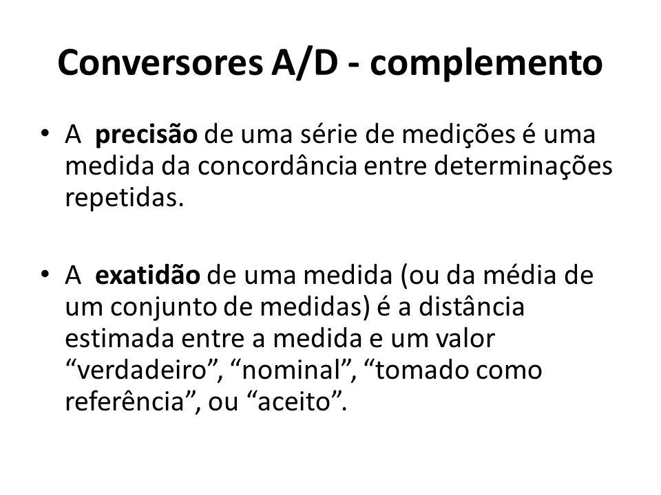 Conversores A/D - complemento A precisão de uma série de medições é uma medida da concordância entre determinações repetidas. A exatidão de uma medida