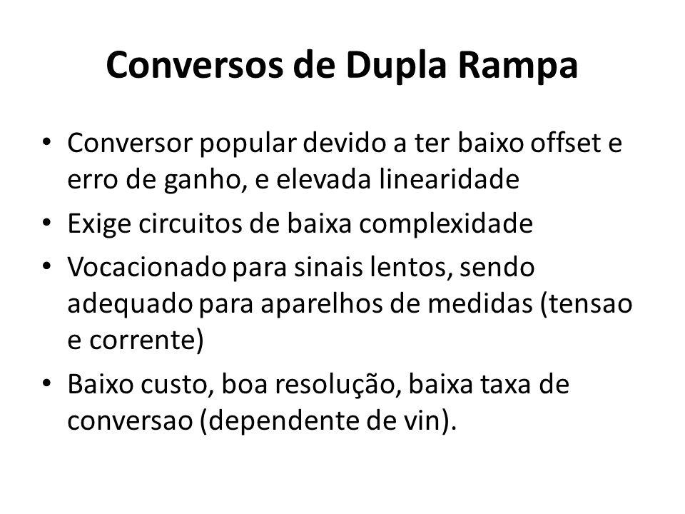 Conversos de Dupla Rampa Conversor popular devido a ter baixo offset e erro de ganho, e elevada linearidade Exige circuitos de baixa complexidade Voca