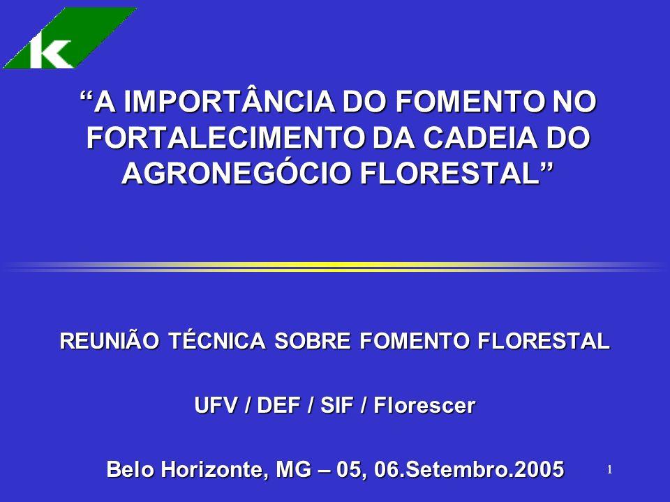 1 A IMPORTÂNCIA DO FOMENTO NO FORTALECIMENTO DA CADEIA DO AGRONEGÓCIO FLORESTAL REUNIÃO TÉCNICA SOBRE FOMENTO FLORESTAL UFV / DEF / SIF / Florescer Be