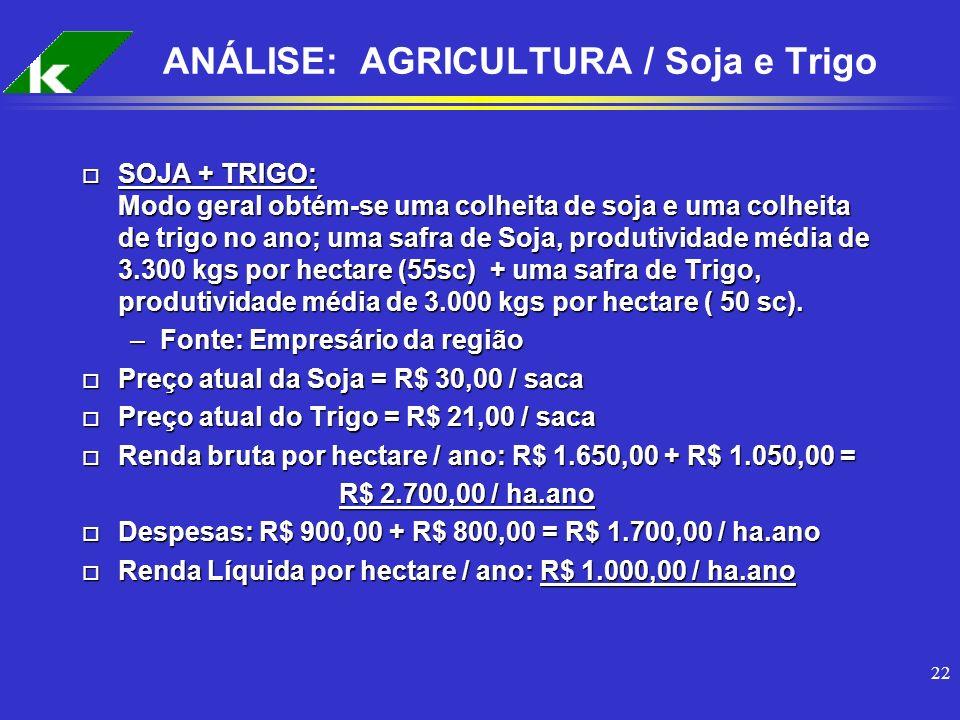22 ANÁLISE: AGRICULTURA / Soja e Trigo o SOJA + TRIGO: Modo geral obtém-se uma colheita de soja e uma colheita de trigo no ano; uma safra de Soja, pro