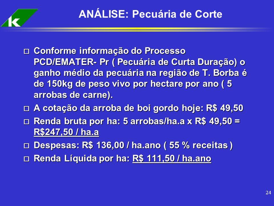 24 ANÁLISE: Pecuária de Corte o Conforme informação do Processo PCD/EMATER- Pr ( Pecuária de Curta Duração) o ganho médio da pecuária na região de T.