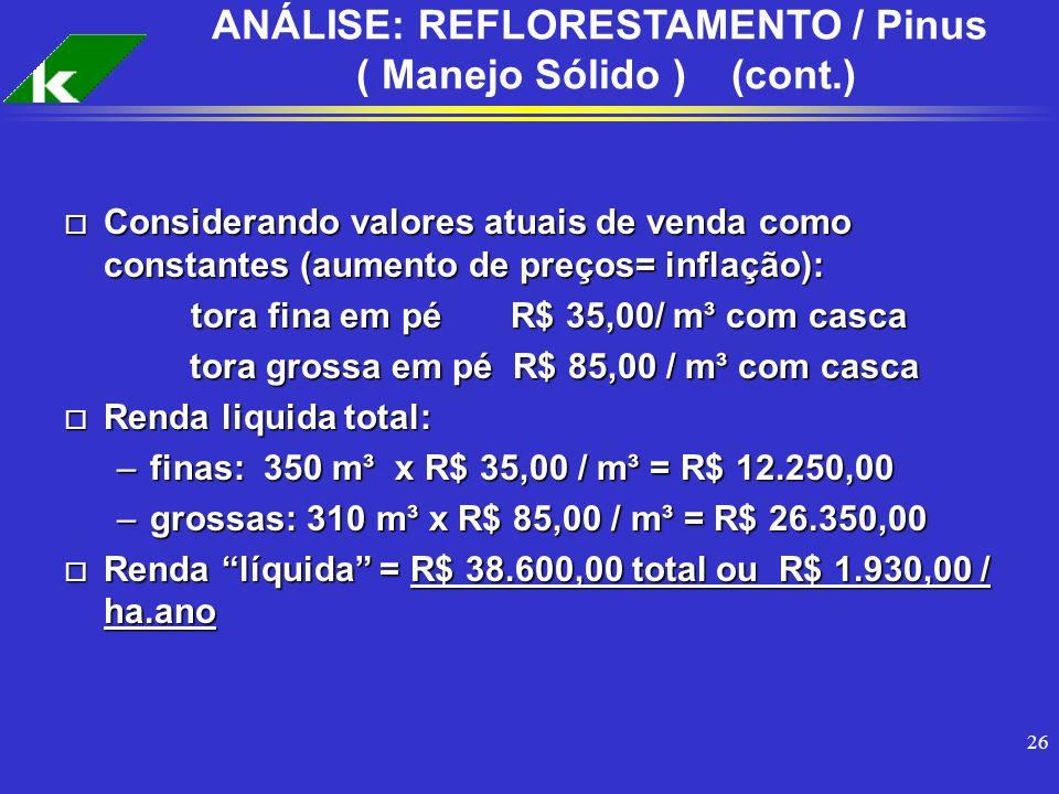 26 ANÁLISE: REFLORESTAMENTO / Pinus ( Manejo Sólido ) (cont.) o Considerando valores atuais de venda como constantes (aumento de preços= inflação): to
