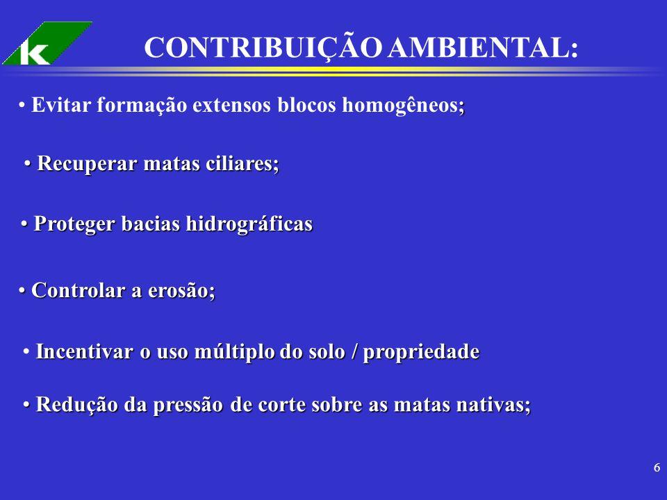 6 CONTRIBUIÇÃO AMBIENTAL: ; Evitar formação extensos blocos homogêneos; Recuperar matas ciliares; Recuperar matas ciliares; Proteger bacias hidrográfi
