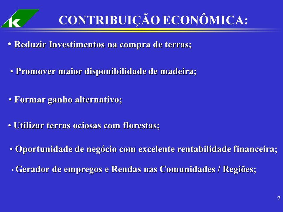 7 CONTRIBUIÇÃO ECONÔMICA: Reduzir Investimentos na compra de terras; Reduzir Investimentos na compra de terras; Promover maior disponibilidade de made