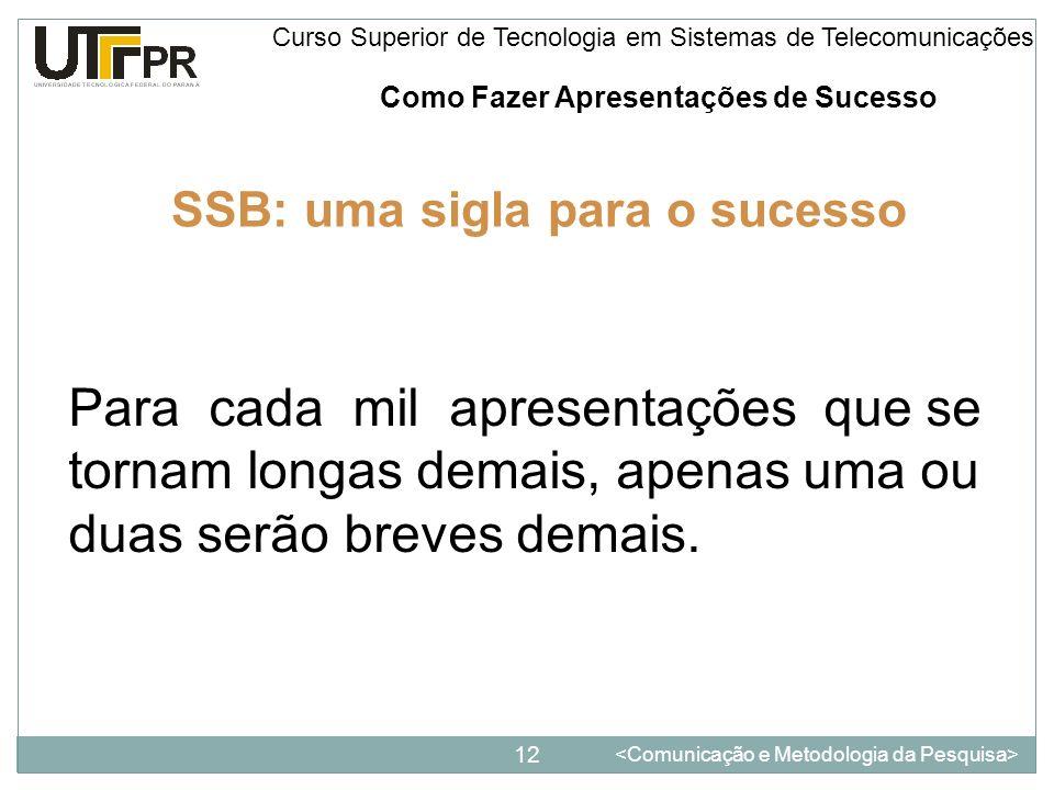 Como Fazer Apresentações de Sucesso 12 Curso Superior de Tecnologia em Sistemas de Telecomunicações SSB: uma sigla para o sucesso Para cada mil aprese