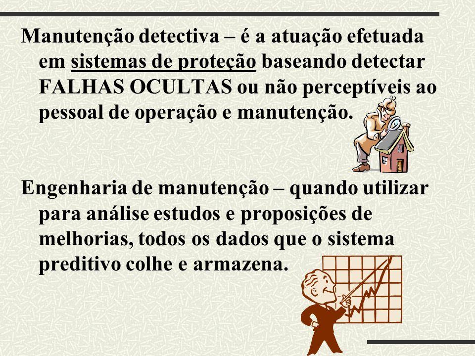Manutenção detectiva – é a atuação efetuada em sistemas de proteção baseando detectar FALHAS OCULTAS ou não perceptíveis ao pessoal de operação e manu