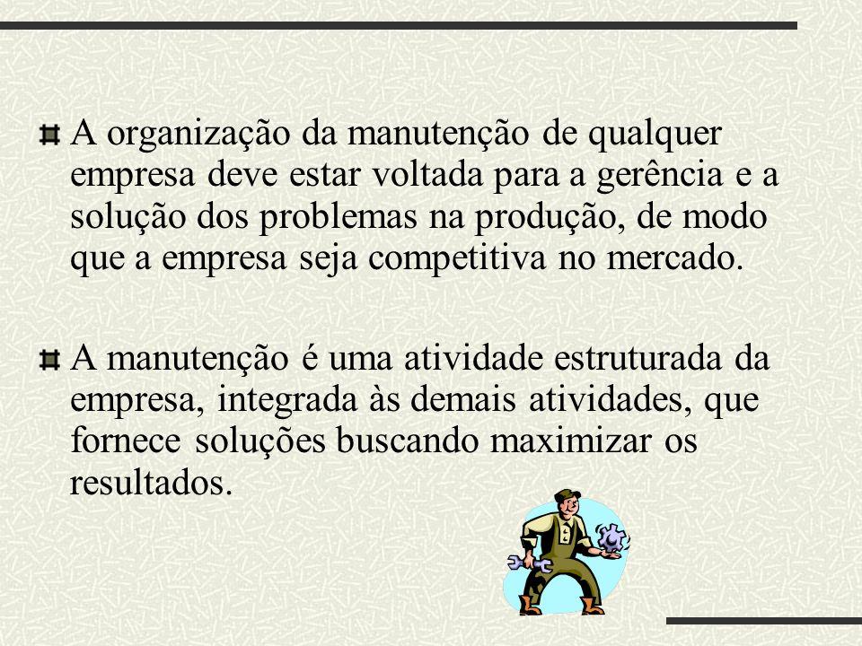 A organização da manutenção de qualquer empresa deve estar voltada para a gerência e a solução dos problemas na produção, de modo que a empresa seja c