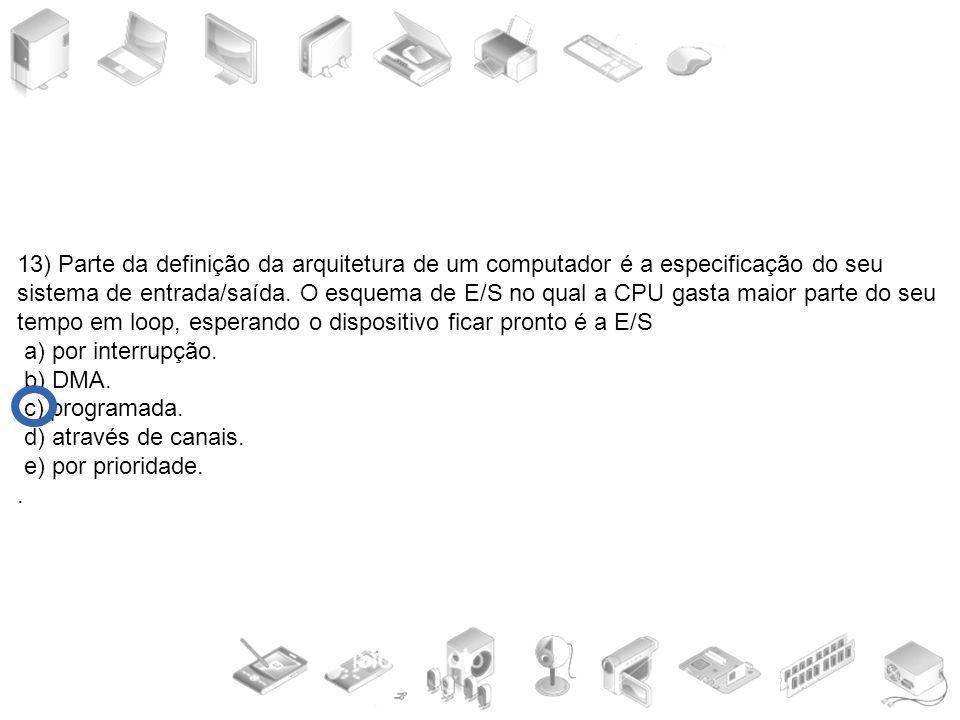 13) Parte da definição da arquitetura de um computador é a especificação do seu sistema de entrada/saída. O esquema de E/S no qual a CPU gasta maior p