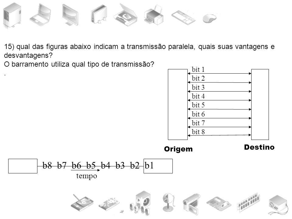 15) qual das figuras abaixo indicam a transmissão paralela, quais suas vantagens e desvantagens? O barramento utiliza qual tipo de transmissão?. b8 b7
