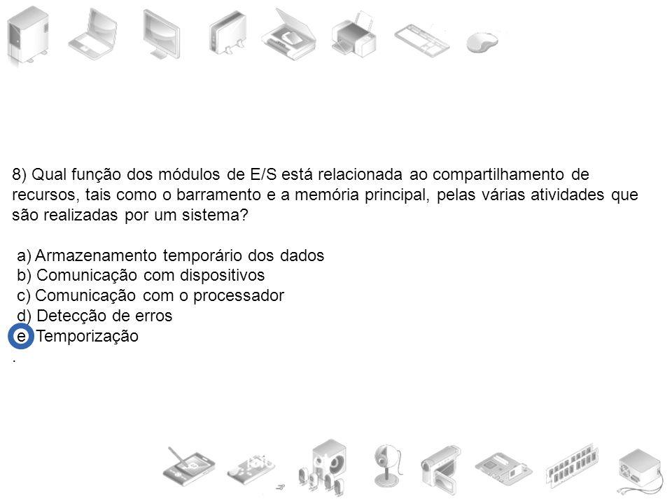 8) Qual função dos módulos de E/S está relacionada ao compartilhamento de recursos, tais como o barramento e a memória principal, pelas várias ativida