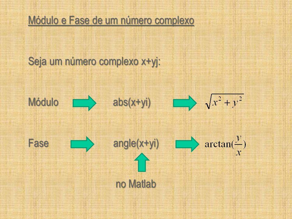 Módulo e Fase de um número complexo Seja um número complexo x+yj: Módulo abs(x+yi) Fase angle(x+yi) no Matlab