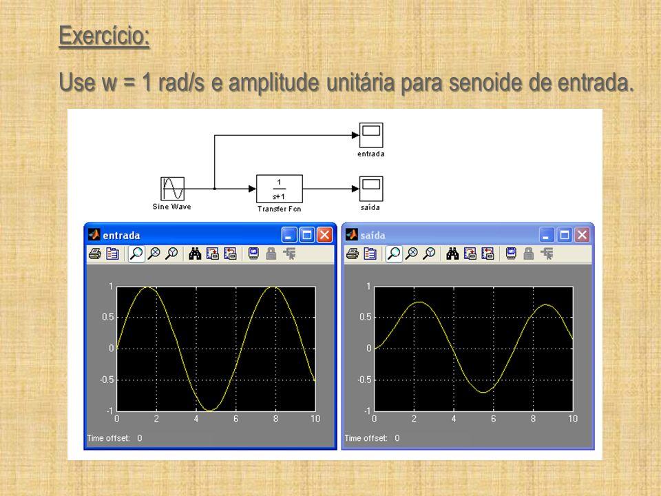 Exercício: Calcule a tabela e monte um gráfico com os pontos obtidos: Freqüência (rad/s) Amplitude de entrada Ae Amplitude de saída As As/Ae20*log(As/Ae) 0.1 0.2 0.4 0.8 1 2 4 8 10