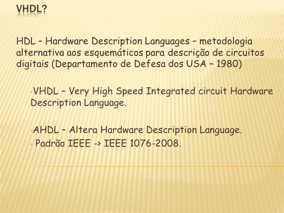 HDL – Hardware Description Languages – metodologia alternativa aos esquemáticos para descrição de circuitos digitais (Departamento de Defesa dos USA –