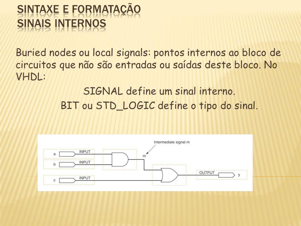 Buried nodes ou local signals: pontos internos ao bloco de circuitos que não são entradas ou saídas deste bloco. No VHDL: SIGNAL define um sinal inter