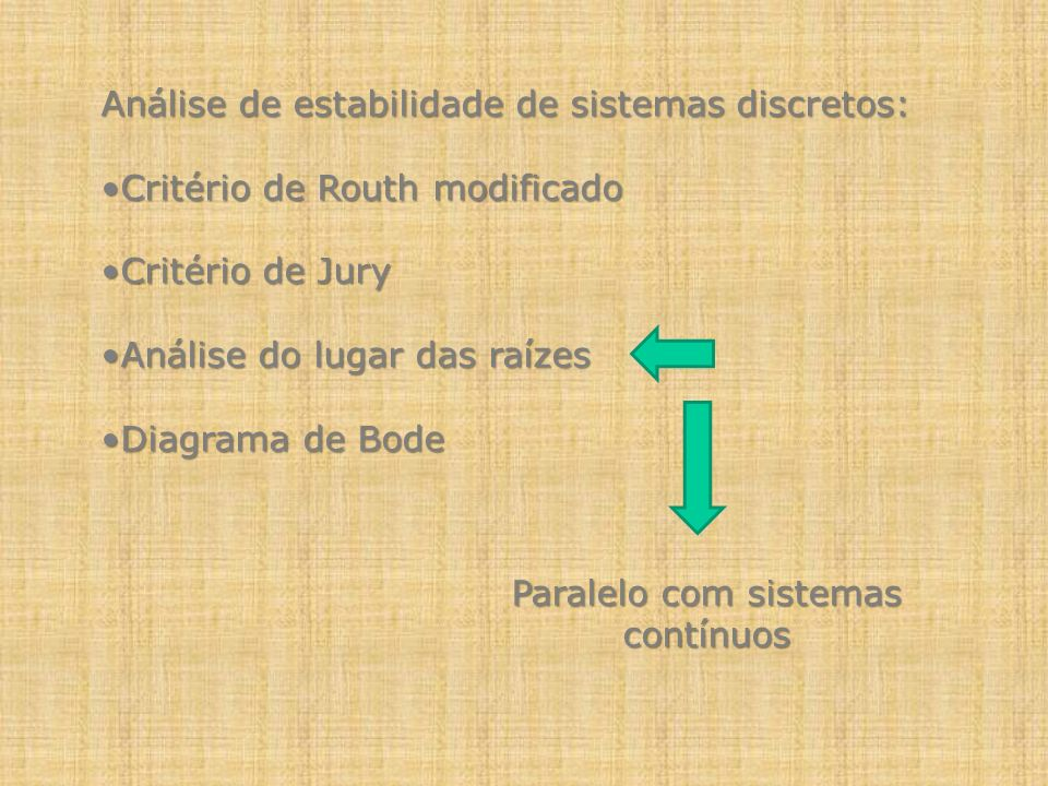 Análise de estabilidade de sistemas discretos: Critério de Routh modificadoCritério de Routh modificado Critério de JuryCritério de Jury Análise do lu