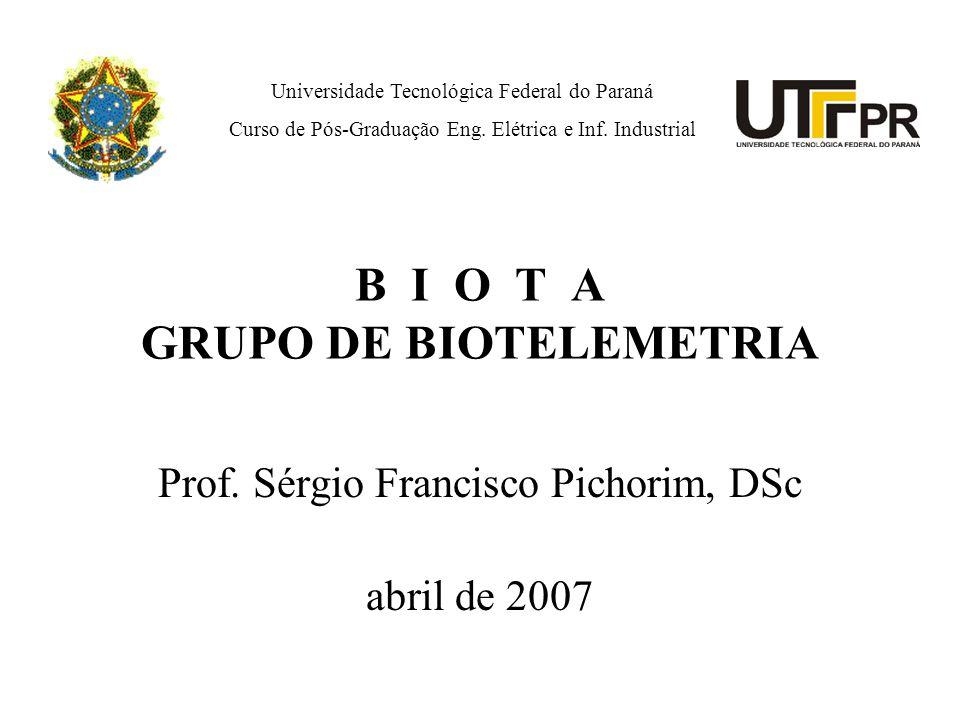 B I O T A GRUPO DE BIOTELEMETRIA Prof. Sérgio Francisco Pichorim, DSc abril de 2007 Universidade Tecnológica Federal do Paraná Curso de Pós-Graduação