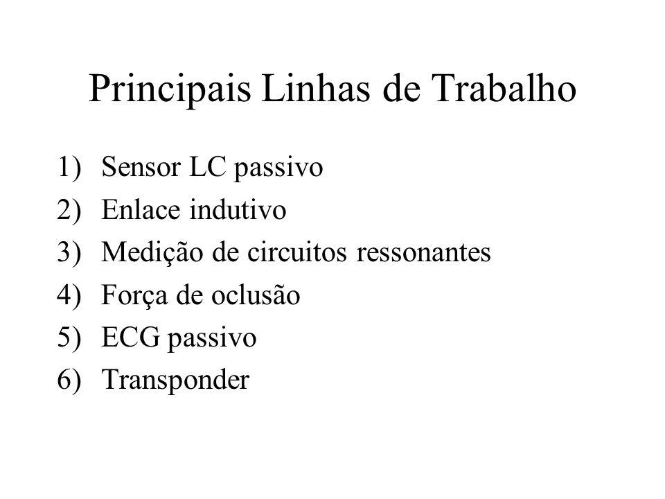 Principais Linhas de Trabalho 1)Sensor LC passivo 2)Enlace indutivo 3)Medição de circuitos ressonantes 4)Força de oclusão 5)ECG passivo 6)Transponder