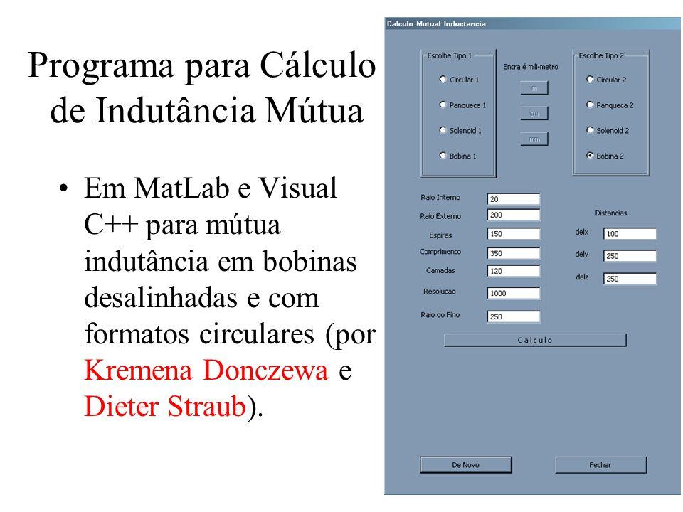 Programa para Cálculo de Indutância Mútua Em MatLab e Visual C++ para mútua indutância em bobinas desalinhadas e com formatos circulares (por Kremena
