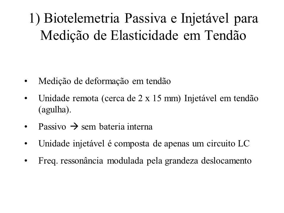 1) Biotelemetria Passiva e Injetável para Medição de Elasticidade em Tendão Medição de deformação em tendão Unidade remota (cerca de 2 x 15 mm) Injetá