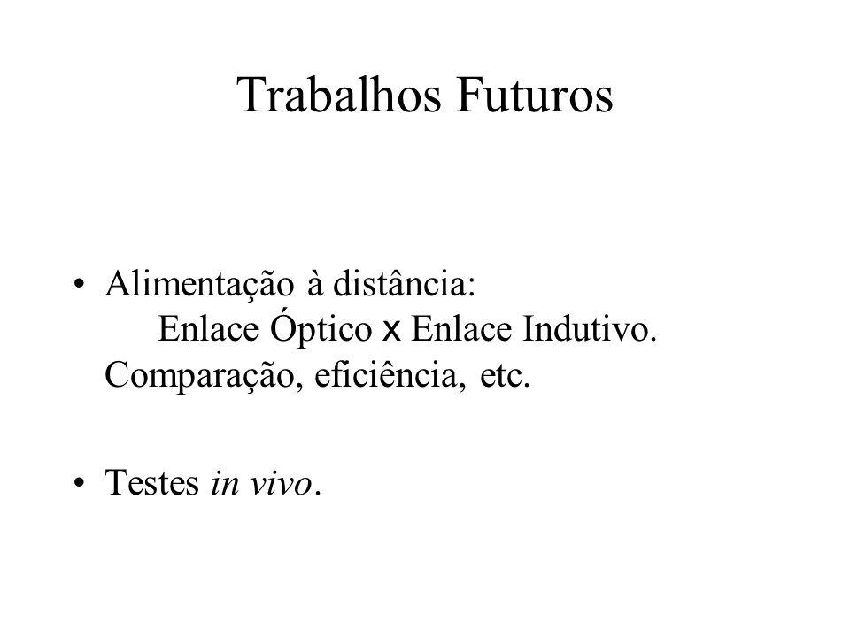 Trabalhos Futuros Alimentação à distância: Enlace Óptico x Enlace Indutivo. Comparação, eficiência, etc. Testes in vivo.