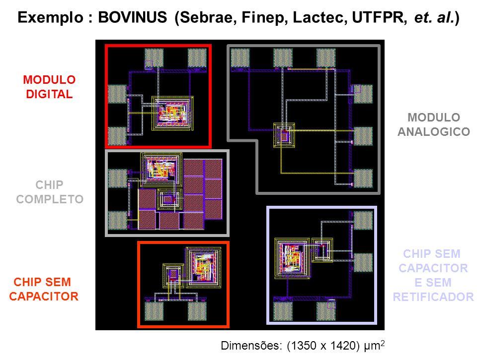 Exemplo : BOVINUS (Sebrae, Finep, Lactec, UTFPR, et. al.) MODULO DIGITAL CHIP COMPLETO CHIP SEM CAPACITOR CHIP SEM CAPACITOR E SEM RETIFICADOR MODULO