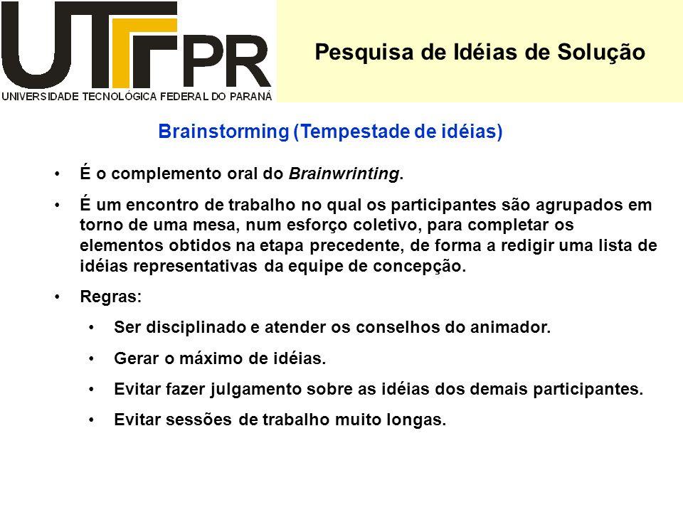 Pesquisa de Idéias de Solução É o complemento oral do Brainwrinting. É um encontro de trabalho no qual os participantes são agrupados em torno de uma