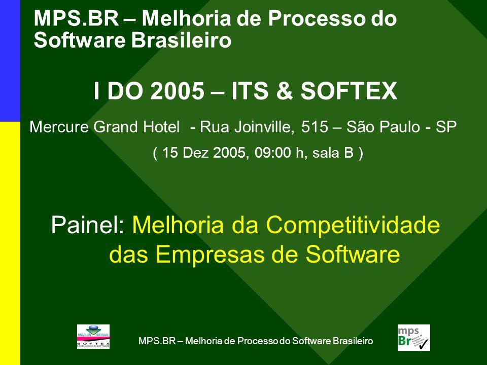 MPS.BR – Melhoria de Processo do Software Brasileiro I DO 2005 – ITS & SOFTEX Mercure Grand Hotel - Rua Joinville, 515 – São Paulo - SP ( 15 Dez 2005, 09:00 h, sala B ) Painel: Melhoria da Competitividade das Empresas de Software