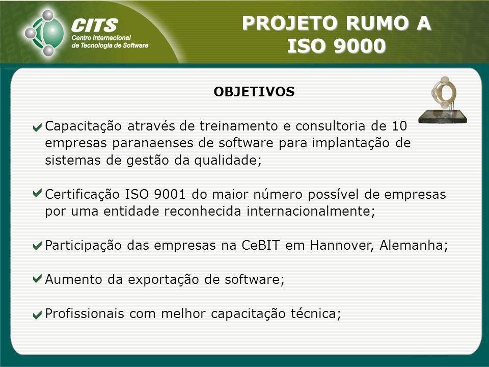 PROJETO RUMO A ISO 9000 OBJETIVOS Capacitação através de treinamento e consultoria de 10 empresas paranaenses de software para implantação de sistemas