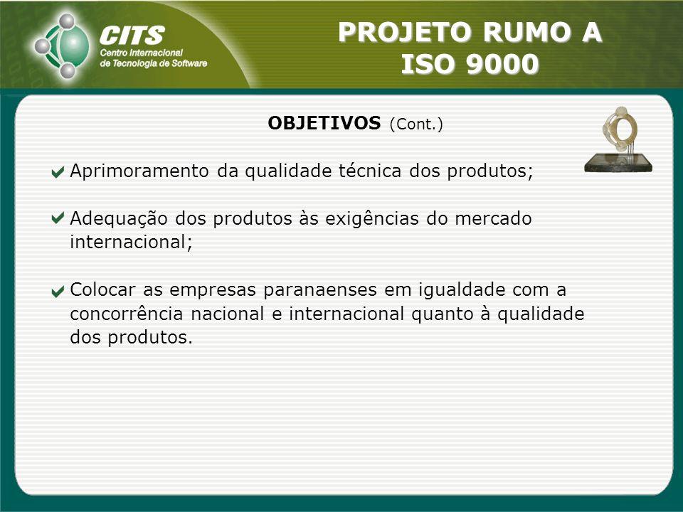 PROJETO RUMO A ISO 9000 OBJETIVOS (Cont.) Aprimoramento da qualidade técnica dos produtos; Adequação dos produtos às exigências do mercado internacion
