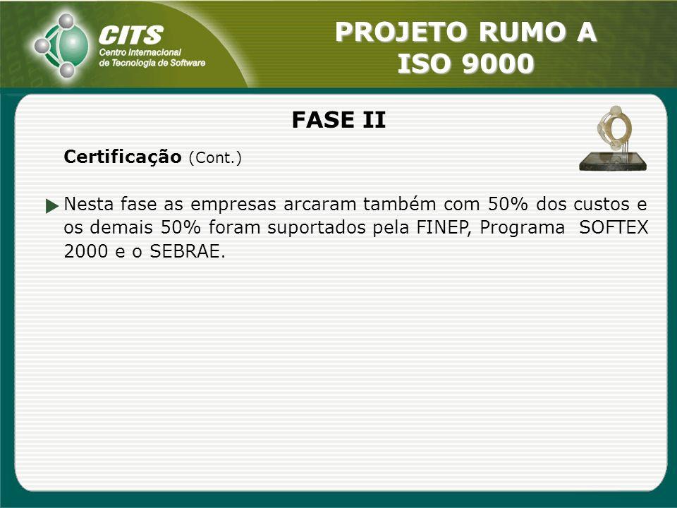 PROJETO RUMO A ISO 9000 FASE II Certificação (Cont.) Nesta fase as empresas arcaram também com 50% dos custos e os demais 50% foram suportados pela FI