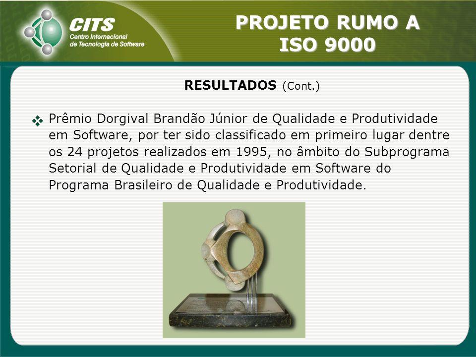 PROJETO RUMO A ISO 9000 RESULTADOS (Cont.) Prêmio Dorgival Brandão Júnior de Qualidade e Produtividade em Software, por ter sido classificado em prime