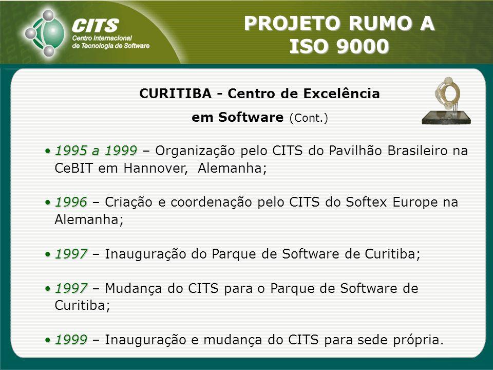 PROJETO RUMO A ISO 9000 CURITIBA - Centro de Excelência em Software (Cont.) 1995 a 19991995 a 1999 – Organização pelo CITS do Pavilhão Brasileiro na C