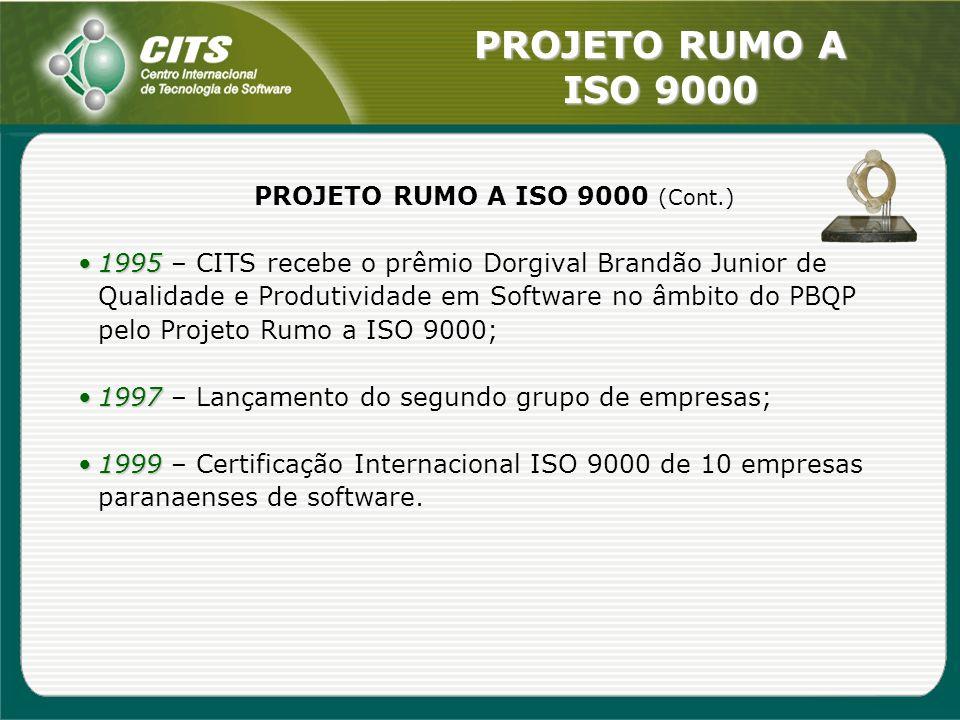 PROJETO RUMO A ISO 9000 PROJETO RUMO A ISO 9000 (Cont.) 19951995 – CITS recebe o prêmio Dorgival Brandão Junior de Qualidade e Produtividade em Softwa