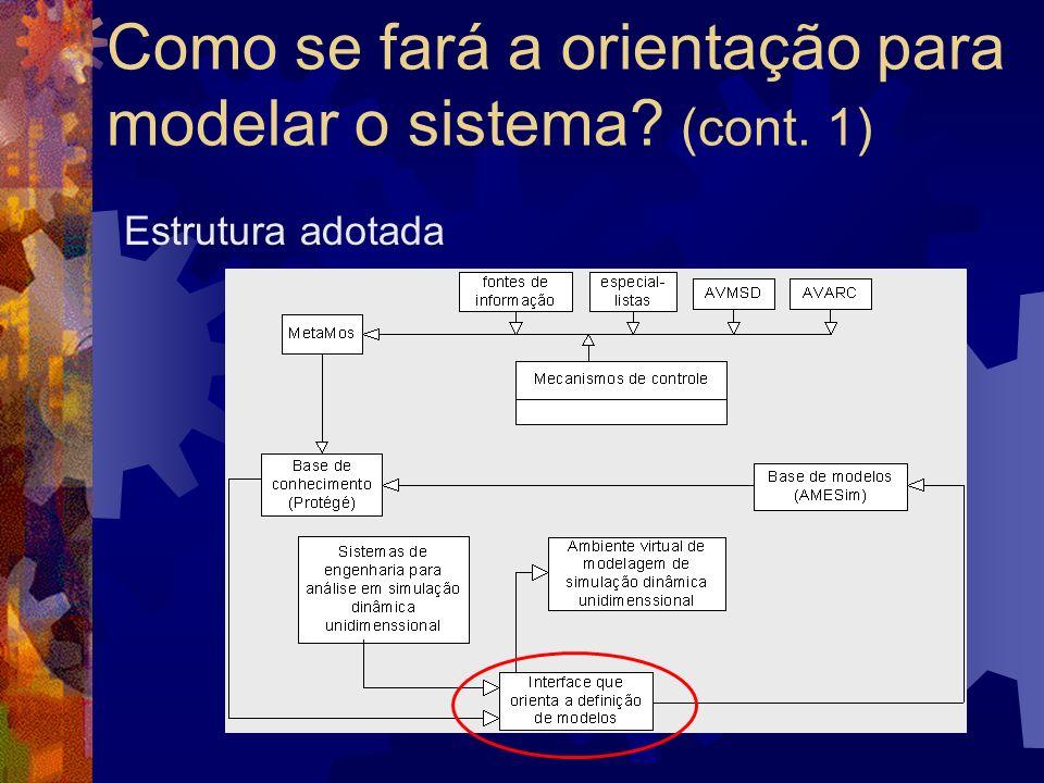 Como se fará a orientação para modelar o sistema? (cont. 1) Estrutura adotada