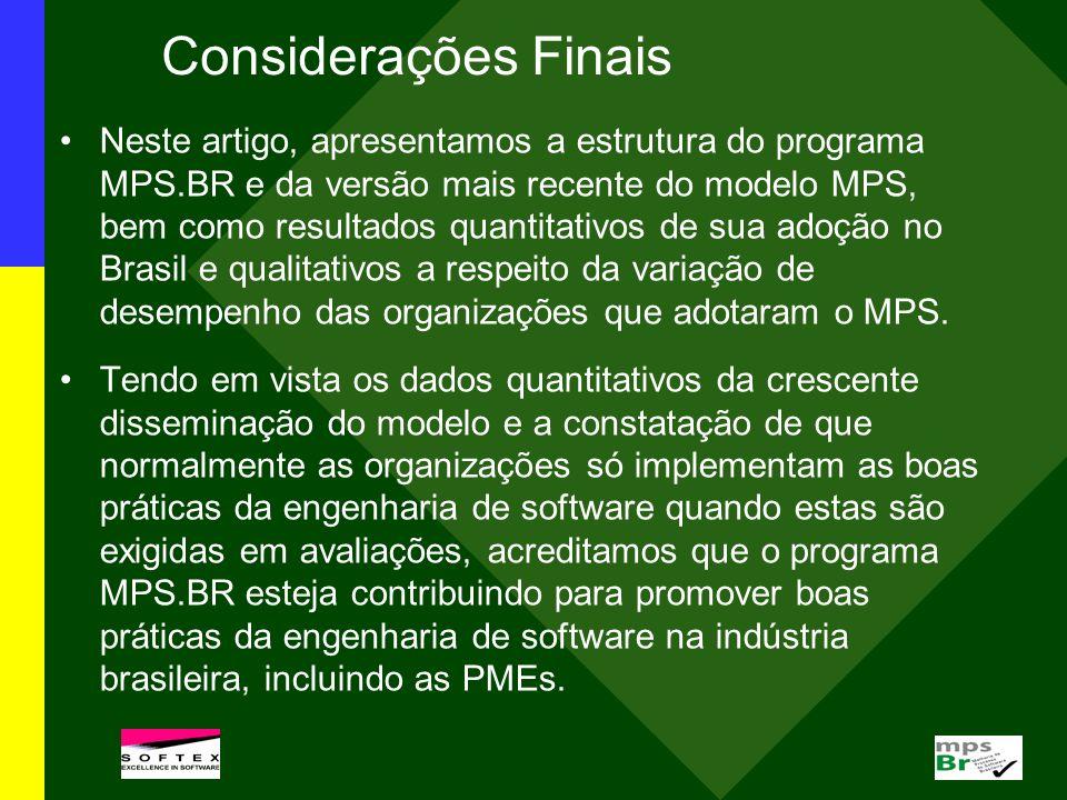 Considerações Finais Neste artigo, apresentamos a estrutura do programa MPS.BR e da versão mais recente do modelo MPS, bem como resultados quantitativ